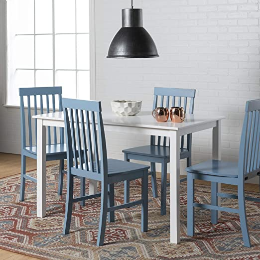 WE Furniture Modern Color Dining Room Table and Chair Set Small Space  Living, Blue