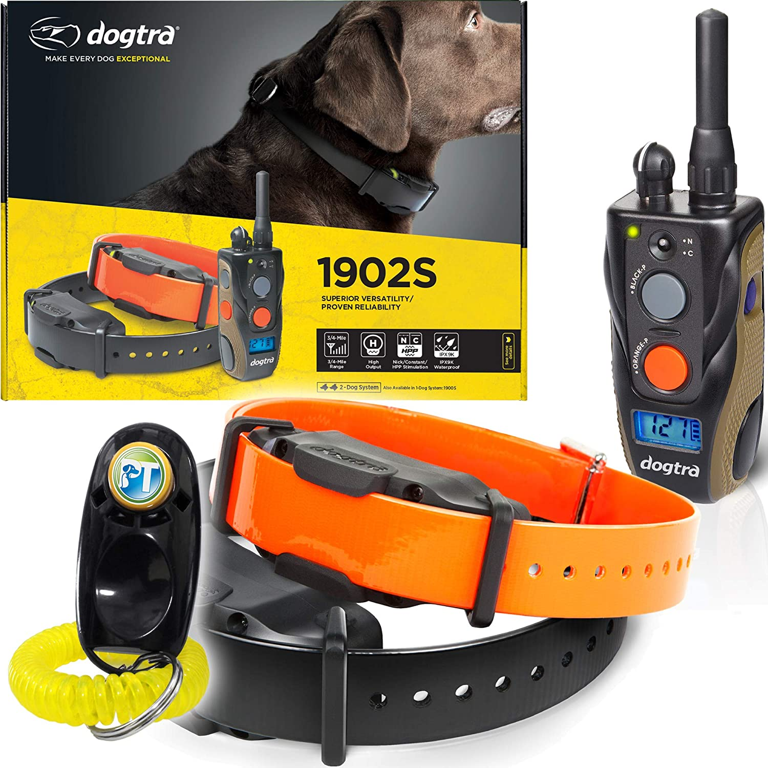 Dogtra 1900S / 1902S Remote Training Collar - 3/4 Mile Range, Waterproof, Rechargeable, Vibration - Includes PetsTEK Dog Training Clicker