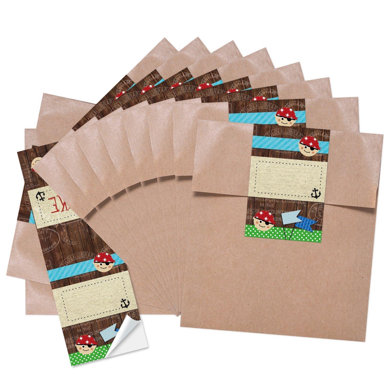 25 piccoli sacchetti regalo sacchetti di carta marrone compleanno (13 X 18 + 2 cm cerniera) + Adesivo Rosso Blu Verde Pirati grazie Mitgebsel Sacchetti per ragazzi compleanno per bambini ragazzi Buste Jeanette Dietl