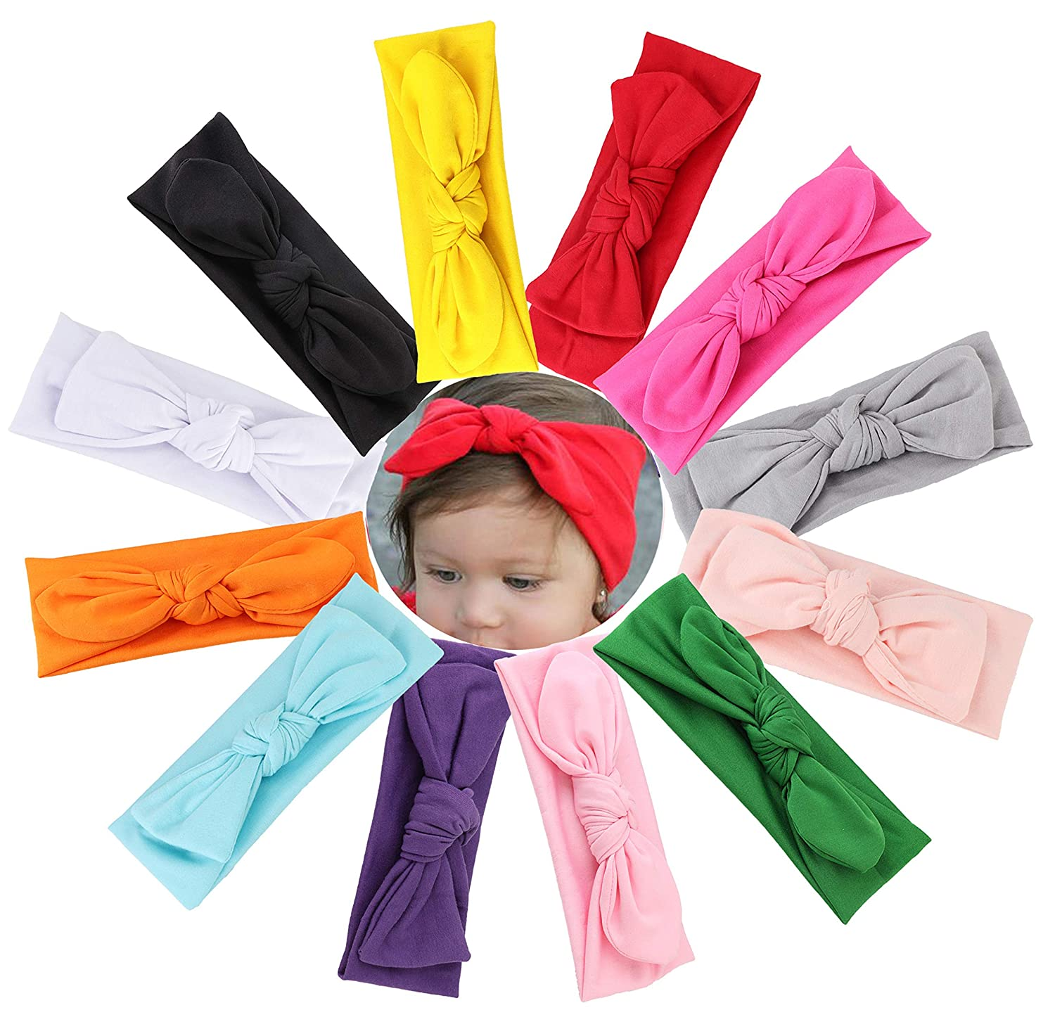 Milacolato 12Pcs Baby Headbands Knotted Turban for Newborn Infant Toddler Boys Girls Hair Wraps Accessories