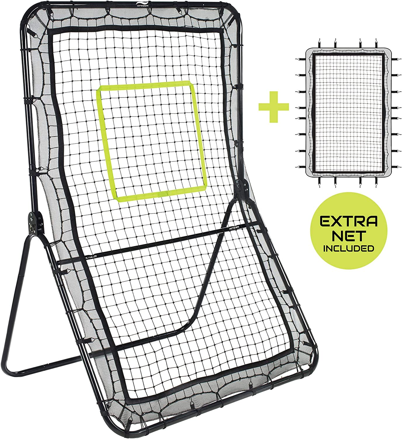 Victorem Lacrosse Rebounder - Bounce Back, Pitch Back Rebounder for Lacrosse, Baseball and Softball Training with Extra Net