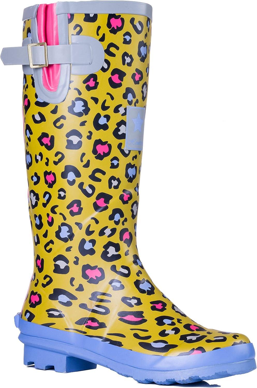 Ladies Blue Black Girls Festival Wellington Welly Boot Long Over Knee Socks
