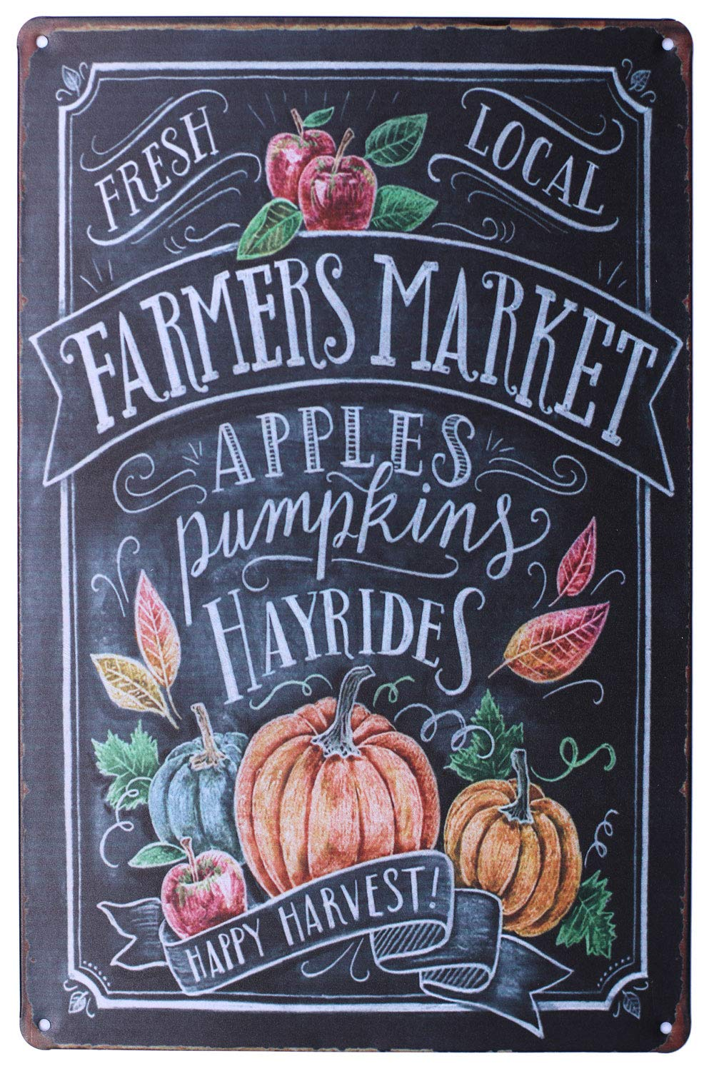 Sumik Farmers Market Apples Pumpkin Hayrides Vintage Art Poster Plaque Kitchen Home Wall Decor Metal Tin Sign