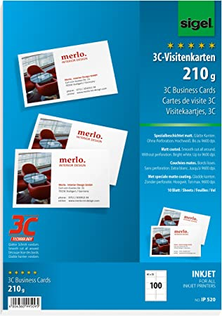 10 Blatt 250 g glatter Schnitt hochgl/änzend hochwei/ß 100 St/ück SIGEL IP526 Visitenkarten 3C f/ür InkJet 85x55 mm