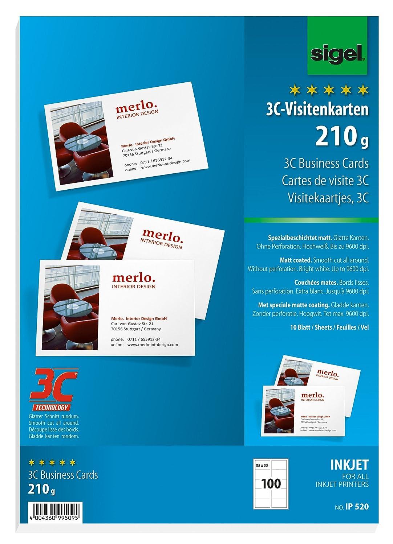Sigel IP520 Biglietti da visita, 3C, con taglio netto tutt'intorno, bianco, 85x55 mm (A4), 210 g, 100 pz.=10 fg.