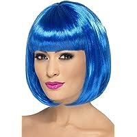Smiffy'S 42400 12 Pulgadas Corta Corte Bob Con Flequillo, Azul, Tamaño Único