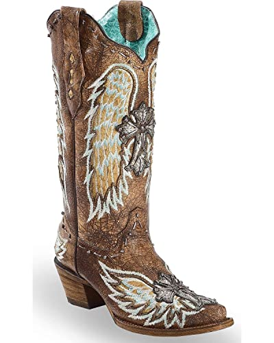Women's Chocolate Wings and Cross Inlay Cowgirl Boot Snip Toe - A3495
