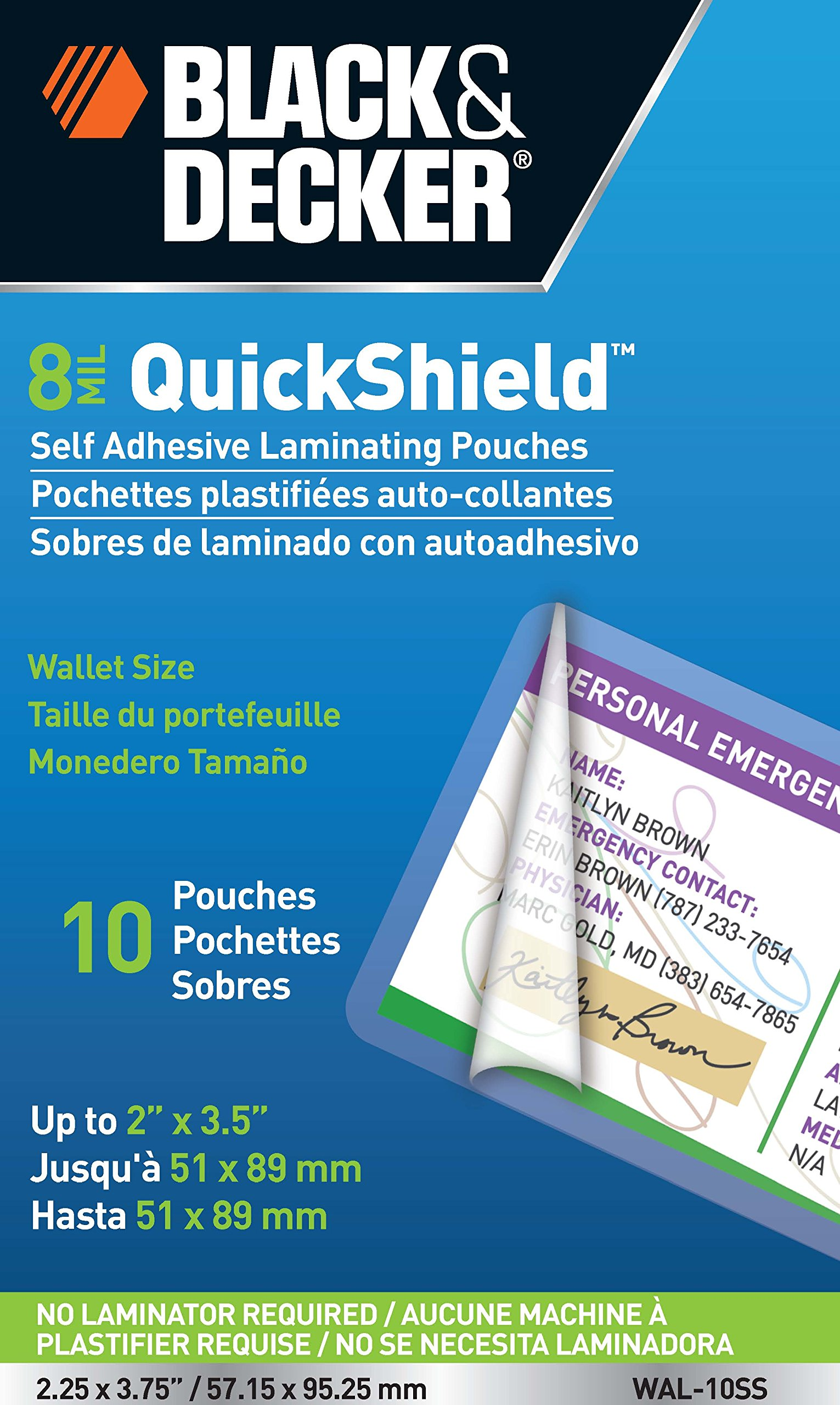 BLACK + DECKER QuickShield Self-Adhesive Wallet Size Laminating Pouches, 8-mil, 10 Pack (WAL-10SS)