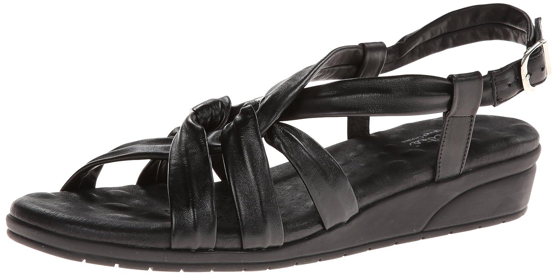 Walking Cradles Women's VI Wedge Sandal B00GGXAQOA 6.5 W US|Black New Softee Leather