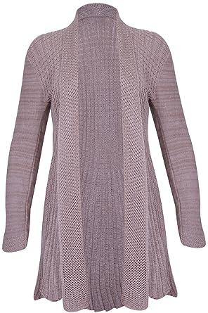 Womens Ladies Open Knitted Waterfall Long Sleeves Plus Size Cardigan Jumper Top