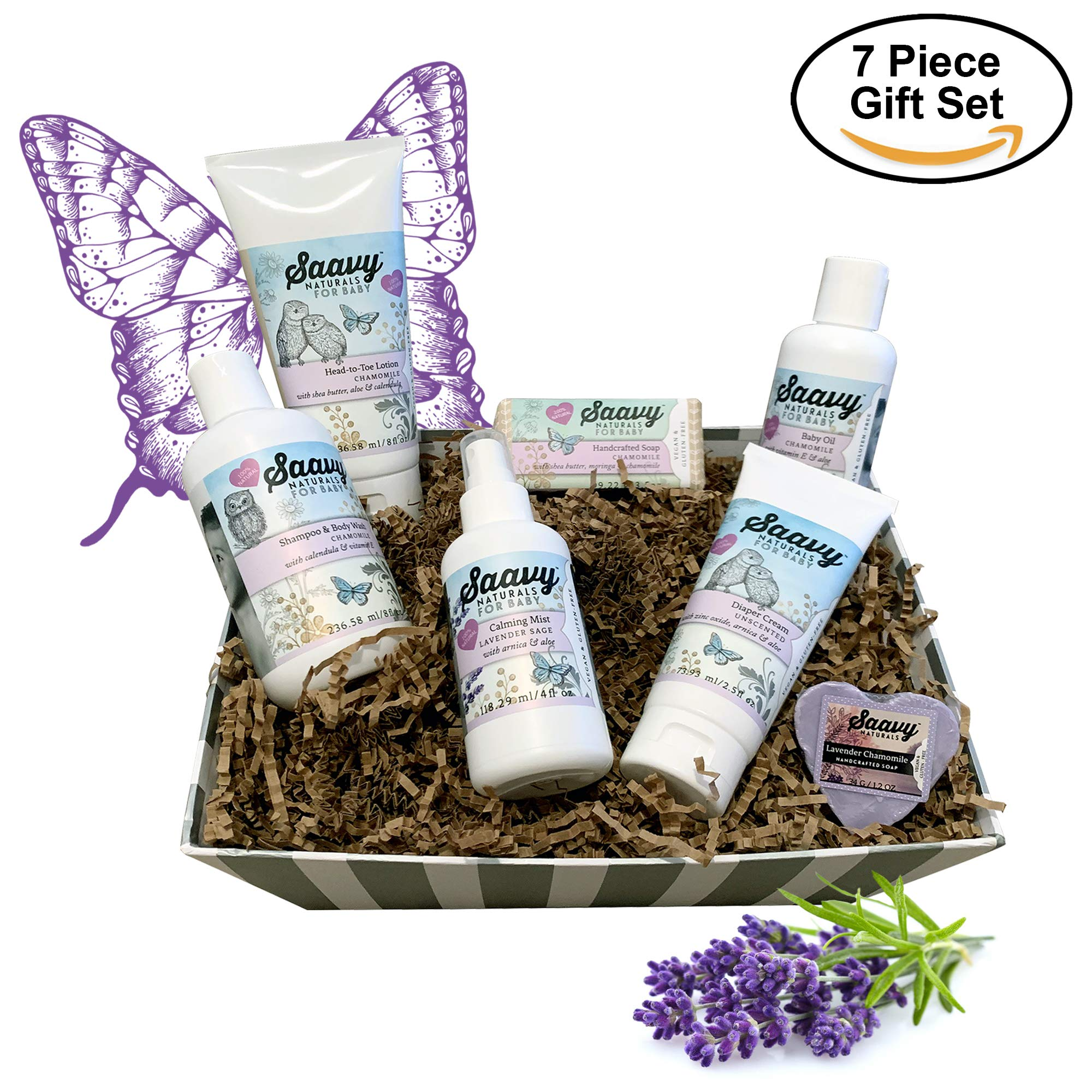 Saavy Naturals Baby Shower Gifts | Bath Set for Babies Includes 2 Soap Bars, 1 Infant Lotion, 1 Shampoo & Body Wash, 1 Baby Oil, 1 Calming Mist & 1 Unscented Diaper Cream | Chamomile & Lavender Scents by Saavy Naturals