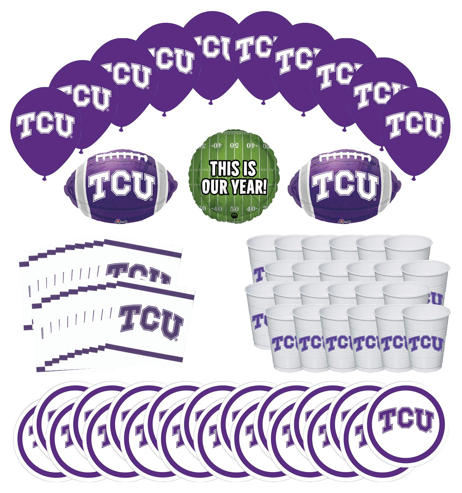 Mayflower Products TCU Horned Frogs Football Tailgating Party Supplies for 20 Guest and Balloon Bouquet Decorations