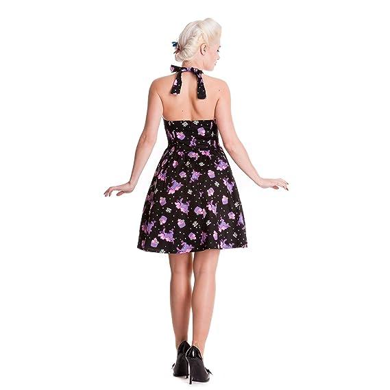 Hell Bunny - Alaska - Rockabilly Dress 50's Style - Black/Violet:  Amazon.co.uk: Clothing