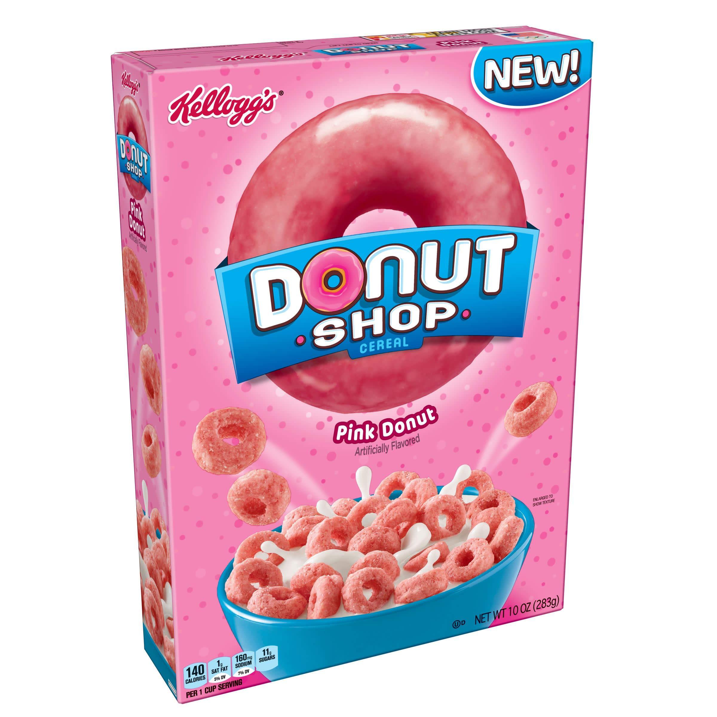 Kelloggs Donut Shop Breakfast Cereal, Pink Donuts, ...