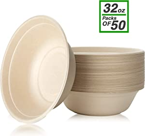 disposable paper bowls, 32 oz [50 Pack] large bowl-100% compostable, biodegradable, green and Eco-friendly natural colour bowls- convenient for daily use for salad, hot soup, and pasta