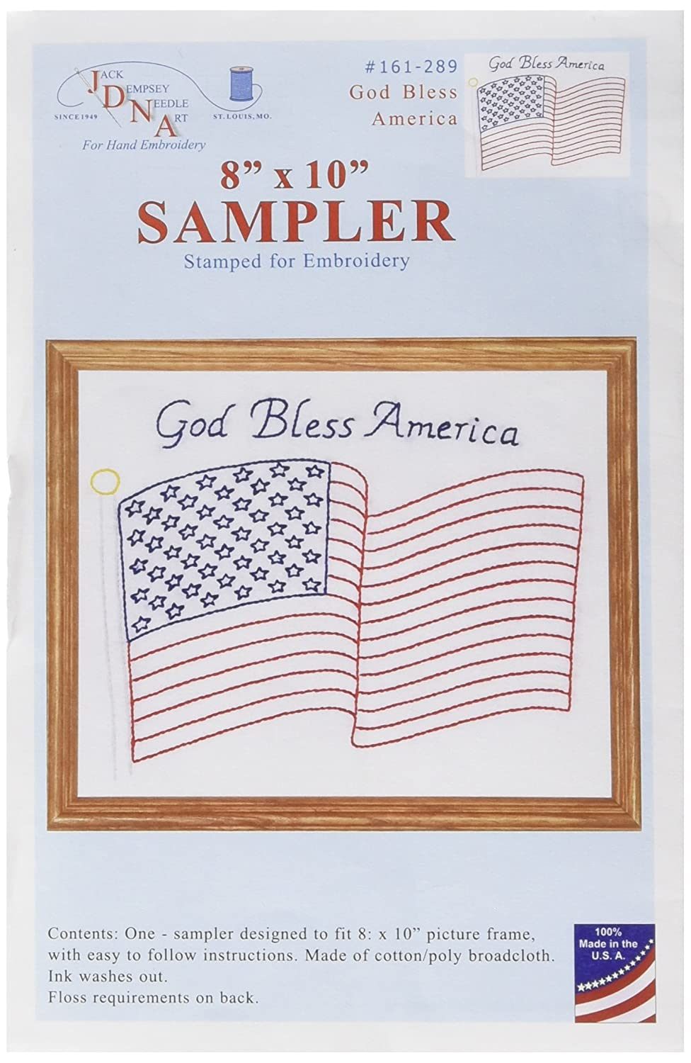 Stamped White Sampler 8'X10'-God Bless America Jack Dempsey 161289