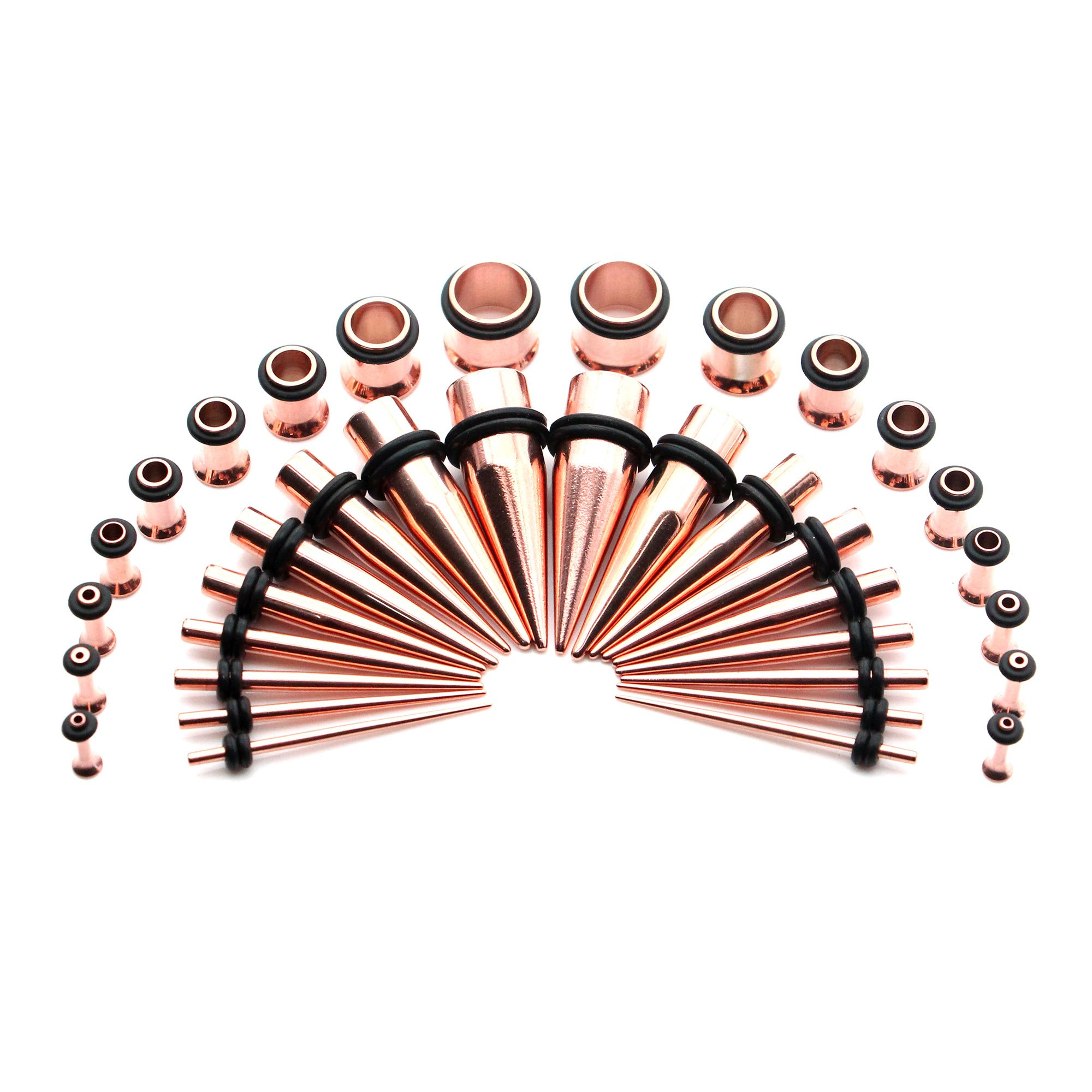 Awinrel 36 Pieces Ear Gauges Stretching Kit Taper Stainless Steel Single Flare Tunnel Plugs Eyelet 14G-00G and 36 pcs O-Ring Extra Set Rose Gold by Awinrel