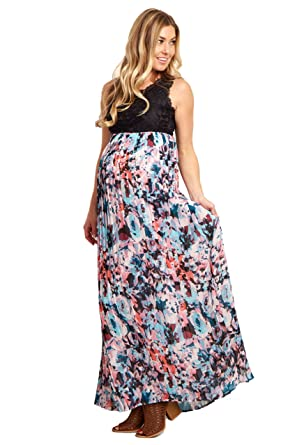 a76205ed62 PinkBlush Maternity Lace Pleated Floral Chiffon Maxi Dress at Amazon  Women s Clothing store