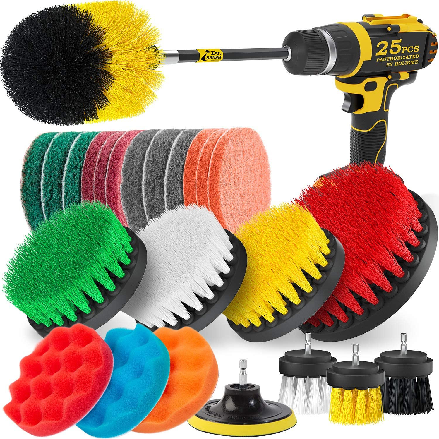 6 Pcs//Set Tile Grout Power Scrubber Cleaning Drill Brush Scrub Tub Cleaner Combo