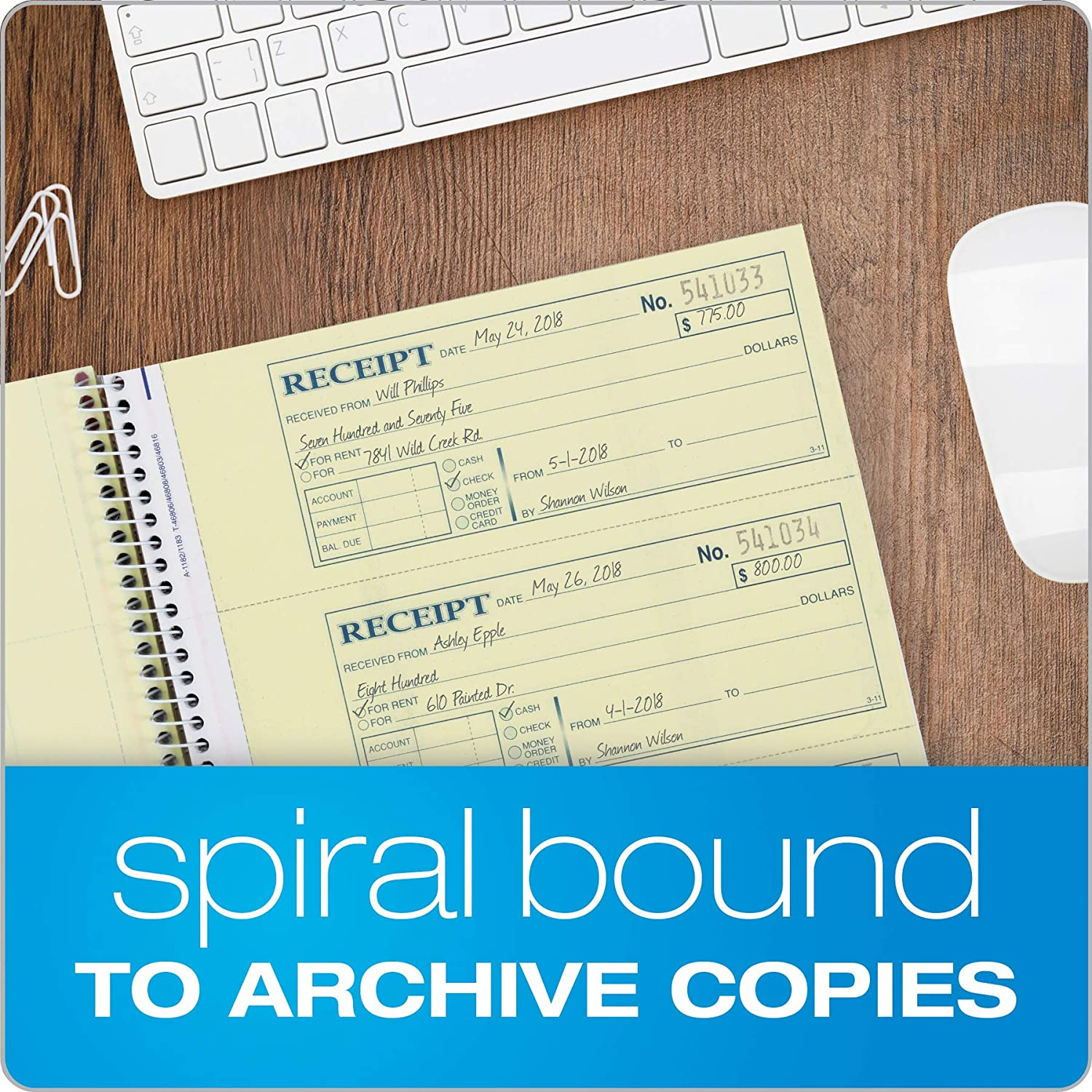 SC1182 2-Part Carbonless 4 Receipts per Page - 4 Pack Spiral Bound 200 Sets per Book Adams Money and Rent Receipt Book 7-5//8 x 11