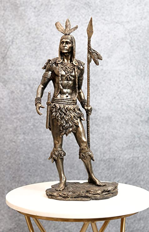 Amazon Com Ebros Large Native American Indian Tribal Chief 3 Feathers Eagle Warrior With Spear Scout Bird Statue 18 5 Tall Indians Figurines And Statues Cultural Heritage Home Decor Eagles Totem Home Kitchen