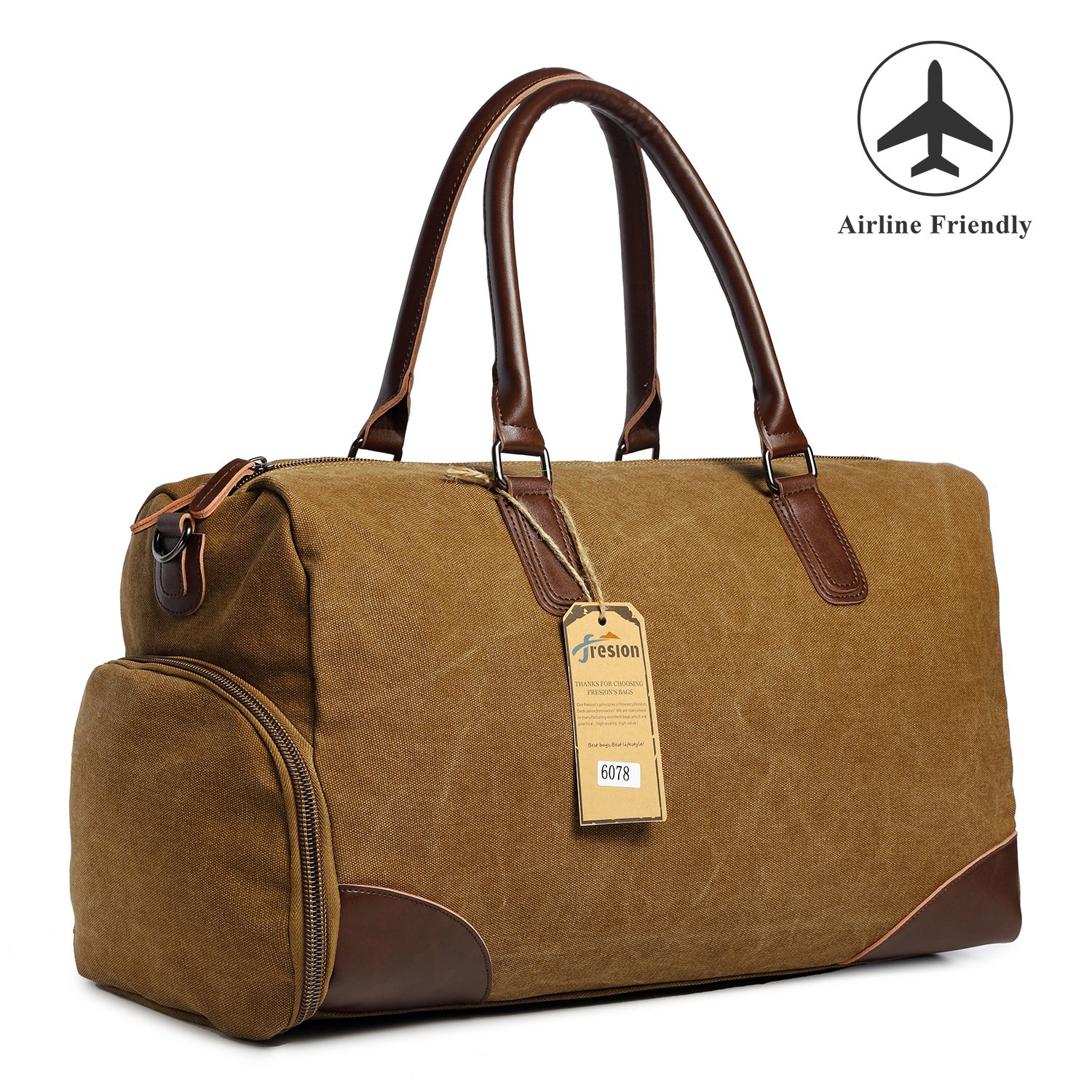 Oversized Travel Canvas Duffel Bag Leather Overnight Bag Carry on Bag Weekender Bag Men Women with Shoes Compartment (Coffee)