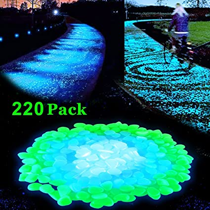 lovebay 220pcs glow in the dark garden pebbles glow stones rocks for walkways garden path patio - Glow In The Dark Garden Pebbles