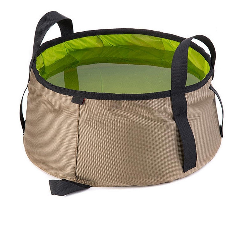 Ruesious Cubo de Lavabo Plegable Ultraligero portátil 10L Bolsa de Agua de Lavado para Aire Libre/Camping / mochilero/Senderismo / Trekking (Verde)