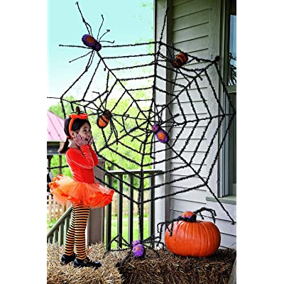 Evergreen Flag Giant Spider Web and Giant Spiders Halloween Decoration, Spooky Outdoor Décor for Halloween, Haunted House Decorations : Outdoor Decor : Garden & Outdoor