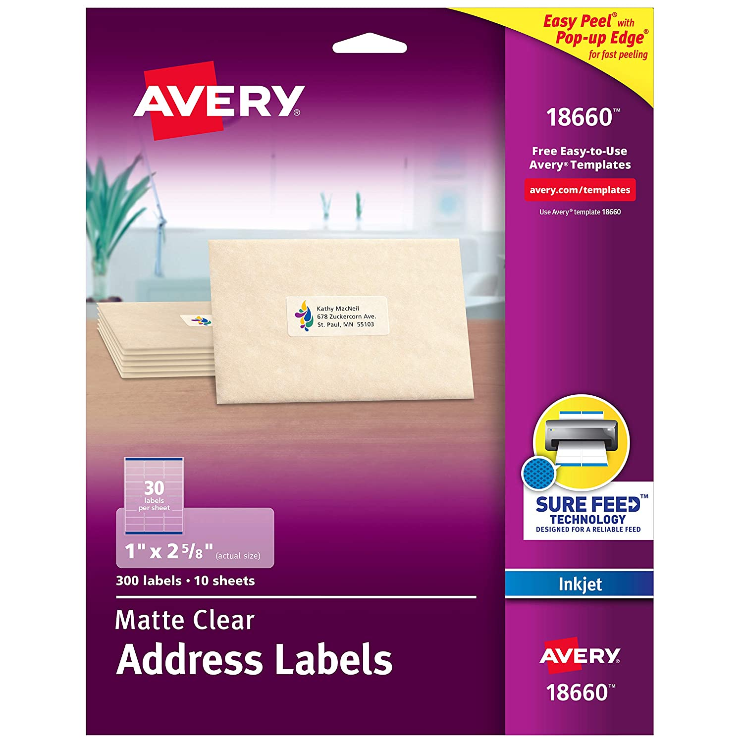 "B00004Z5T0 Avery Matte Frosted Clear Address Labels for Inkjet Printers, 1"" x 2-5/8"", 300 Labels (18660) 81Ay3Qz2BdBL"