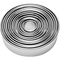 12 Pieces Round Biscuit Cookie Cutter Set - Stainless Steel Circle Pastry Cutter Molds Assorted Size - Including One Tin Box for Storage