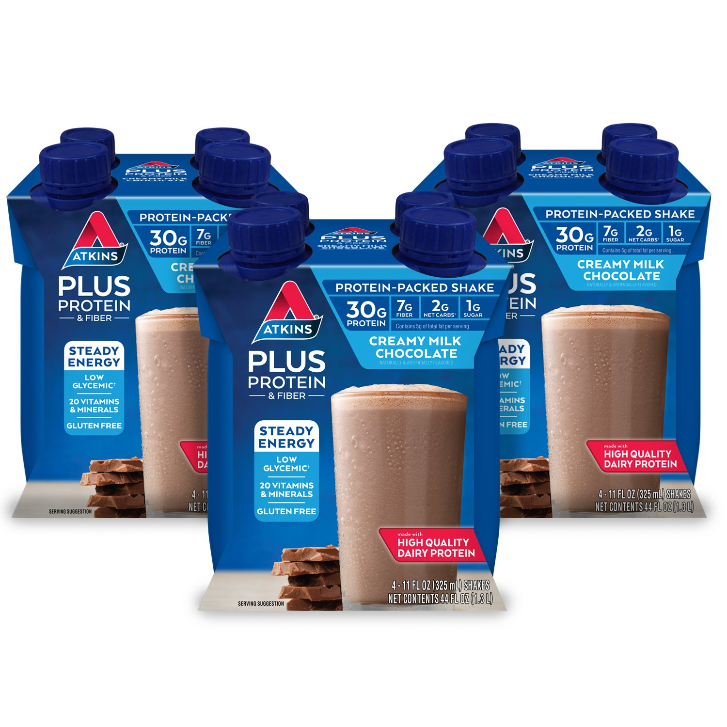 Atkins PLUS Protein & Fiber Shake, Chocolate, 11 Fl Oz, 4 Count (Pack of 3)