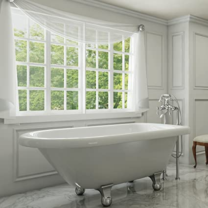 . Luxury 54 inch Small Modern Clawfoot Tub in White with Stand Alone  Freestanding Tub Design  includes Modern Polished Chrome Cannonball Feet  and Drain