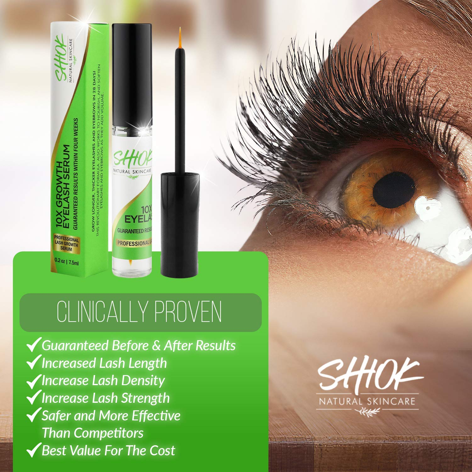 438cc5a761d Amazon.com: Shiok 10X Growth Eyelash Serum- Clinically Proven Eyelash Growth  Enhancer and Brow Serum to Dramatically Boost Lashes and Eyebrows.