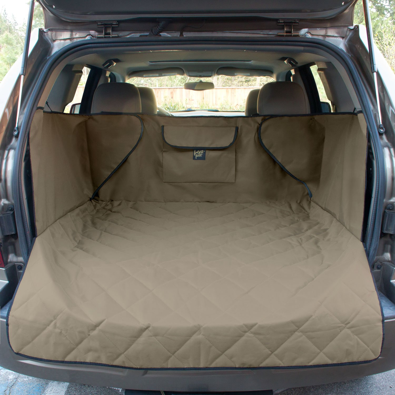 FrontPet Extra Wide Quilted Dog Cargo Cover for SUV Universal Fit for Any Animal. Durable Liner Covers and Protects Your Vehicle, Extended Width, Tan by FrontPet