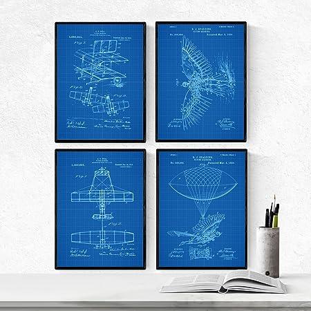 Nacnic Azul - Pack de 4 Láminas con Patentes de Aviones. Set de Posters con inventos y Patentes Antiguas. Elije el Color Que Más te guste. Impreso en Papel de 250 Gramos: