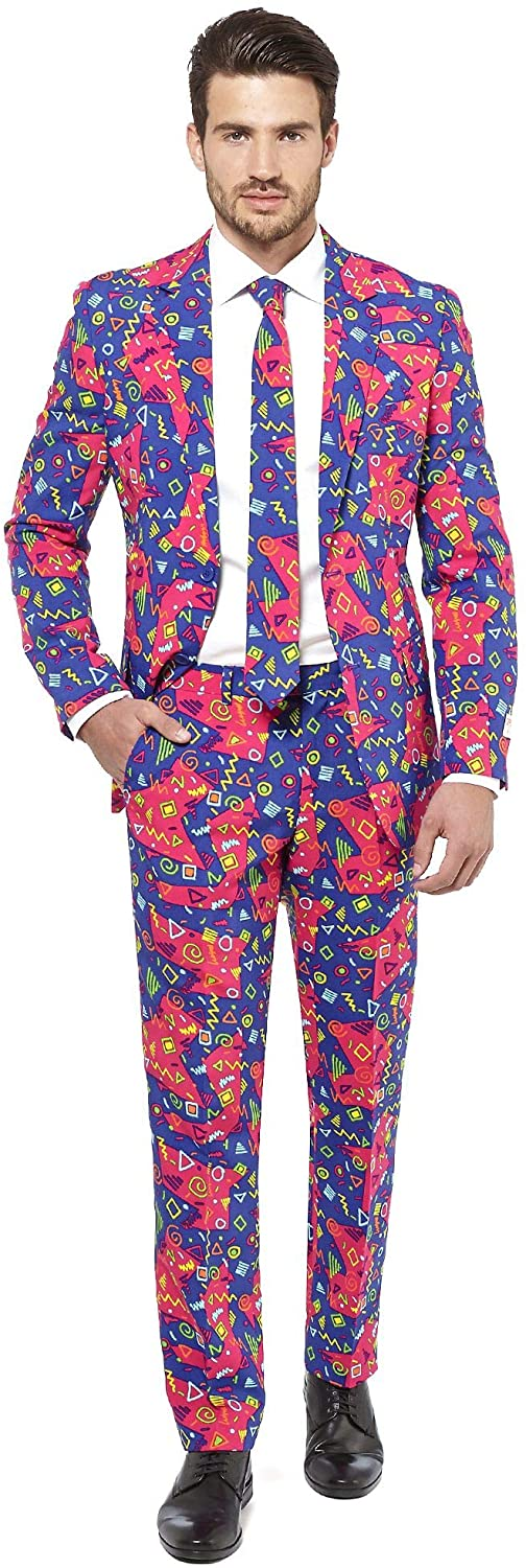 Comes with Jacket Super Mario OppoSuits Crazy Prom Suits for Men Pants And Tie in Funny Designs Abito da Uomo
