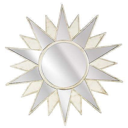 Millennium Art Framed Art Deco Sunburst Starburst Wall Vanity Mirror    Cream (22u0026quot; H