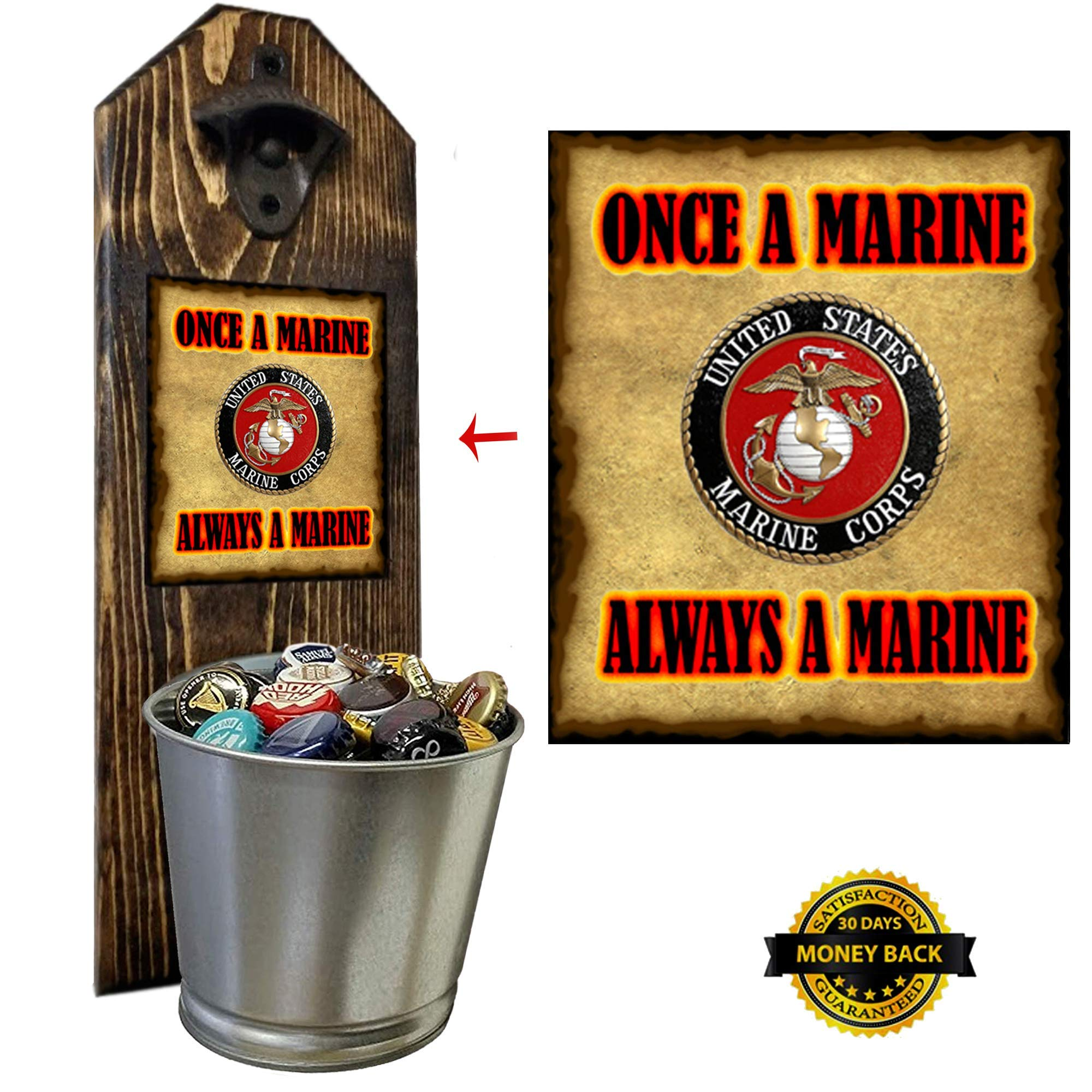 ''Marine Corps'' Bottle Opener and Cap Catcher, Wall Mounted - Handcrafted by a Vet - 100% Solid Pine 3/4'' Thick - Rustic Cast Iron Opener and Galvanized Bucket - Great Veteran Gift! Semper Fi!