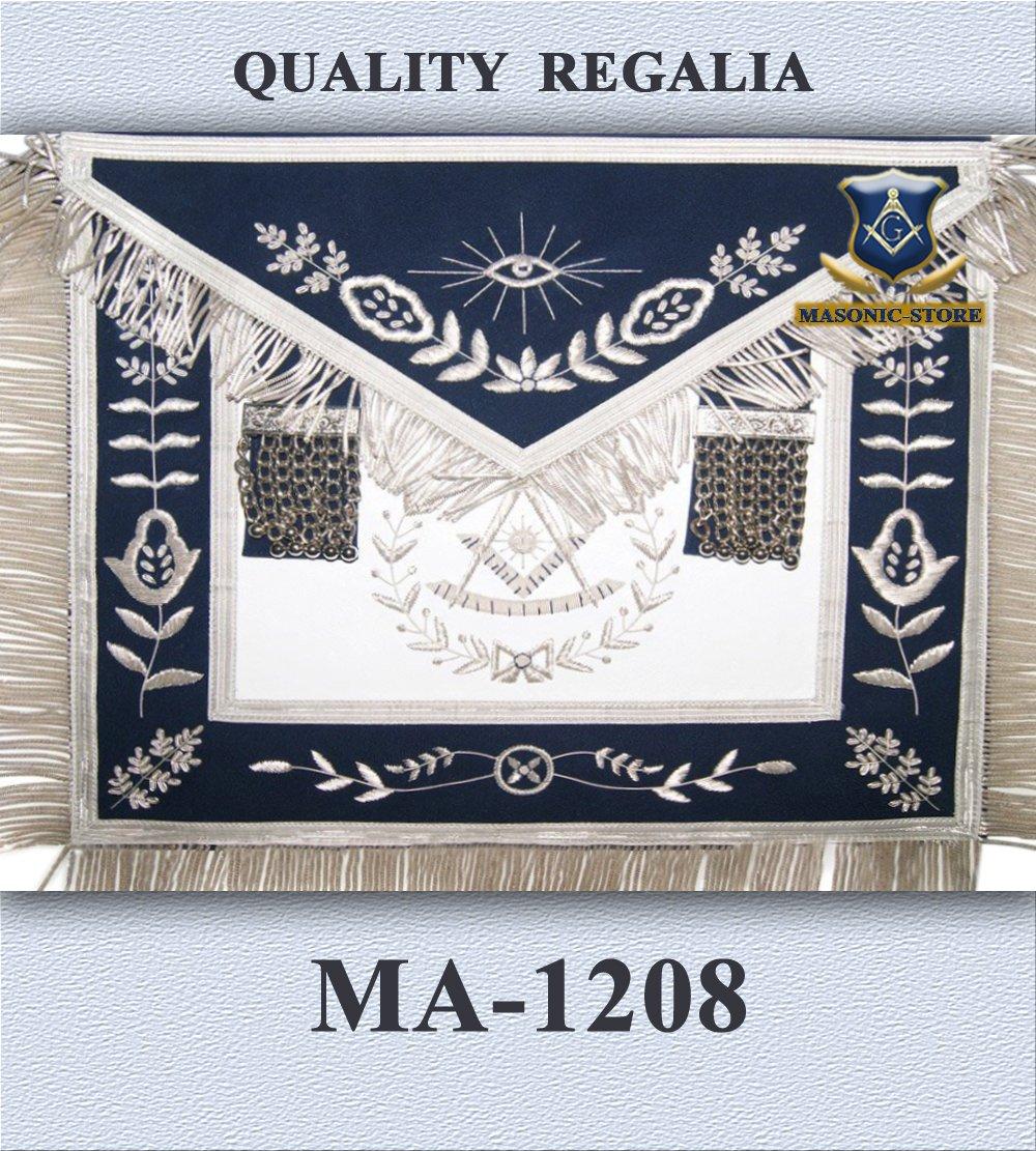 ccfa15e97c Amazon.com  Masonic Hand Embroidery Past Master Apron Royal Blue Silver  With Bullion Fringe  Home   Kitchen
