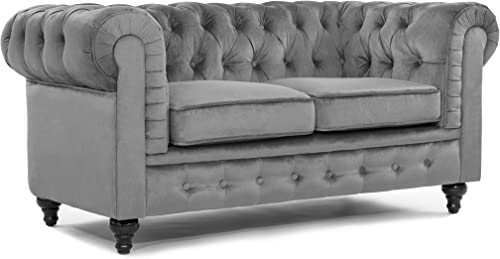 Divano Roma Furniture Classic Scroll Arm Loveseat