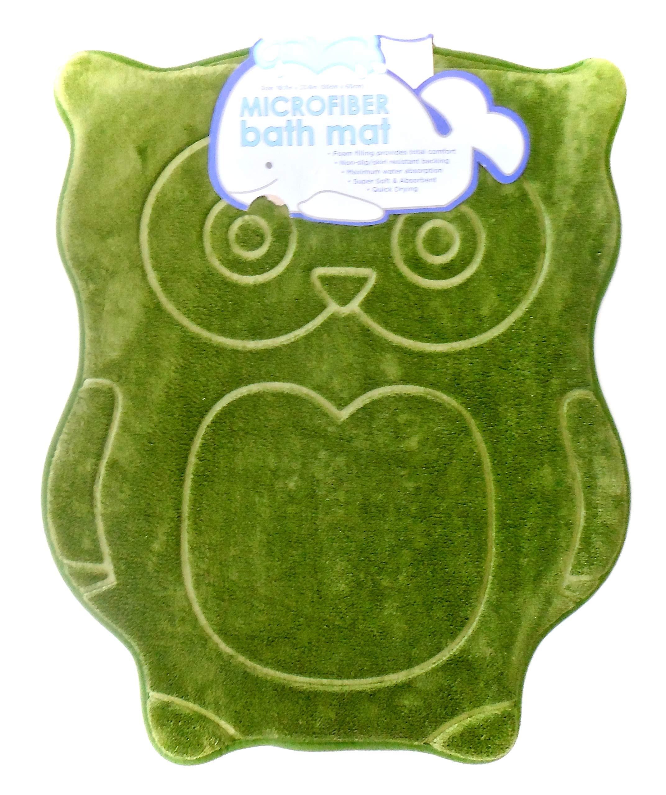 Owl Bath Mat,Microfiber,Non-Slip Backing,19.7'' x 23.6'' (Green Owl)