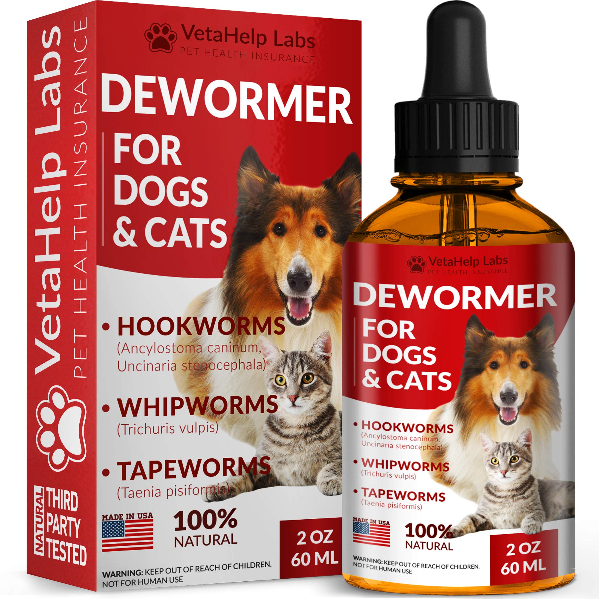 DEW0RMER for Dogs & Cats (2 OZ) - Treat & Prevent - Broad Spectrum WHIPW0RM, H00KW0RM, R0UNDW0RM & TAPEW0RM DEW0RMER - Made in USA - Natural Powerful Blend - Senior Pets, Kitten & Puppy DEW0RMER by VetaHelp Labs