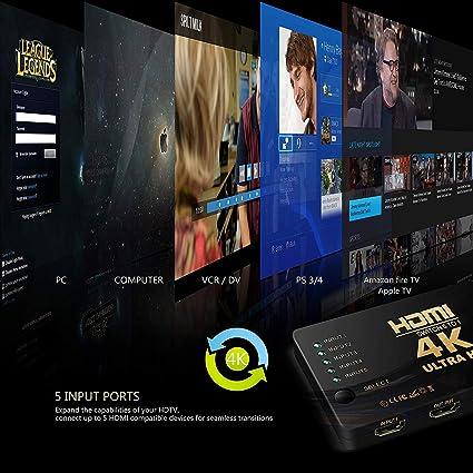 HDMI Switch 4K UHD, 5 Puertos 5x1 AV Video Switcher 5 en 1 Salida HDMI Selector automáticamente, Soporte HDCP 3D 1080p, resolución: hasta 4k para HD DVD, Sky-STB, PS3, XBOX360, HDTV, Monitor: