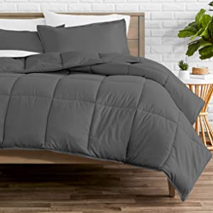 Bare Home Comforter Set - Oversized King - Goose Down Alternative - Ultra-Soft - Premium 1800 Series - Hypoallergenic - All Season Breathable Warmth (Oversized King, Grey)