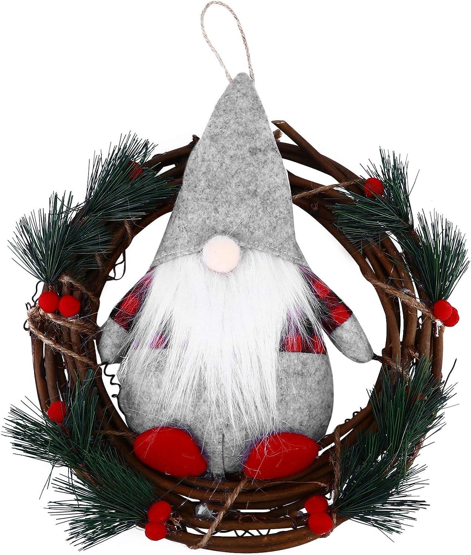 IMIKEYA - Guirnalda artificial de ratán para puerta de entrada con corona de pino, adorno con peluche de Santa Gnome, muñeca de Navidad para colgar en la pared, decoración para granja o chimenea