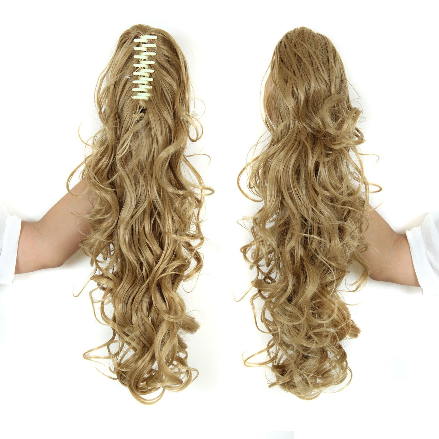 Long Curly Women Girls Ponytail Claw Clip In Hairpiece Synthetic
