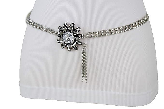 Women Silver Metal Chain Flower Charm Buckle Waist Hip Belt Fringes Size XS S M