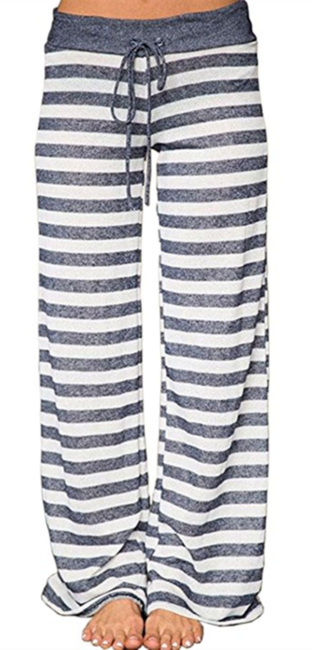 Sexymee Women's Stretch Cotton Pajama Lounge Pants Polka Dot Striped Sleepwear,Grey Striped,Medium