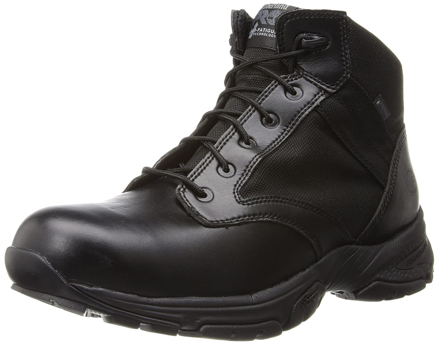 Timberland PRO Men's 5 inch Valor Soft Toe Waterproof Duty Boot,Black Smooth with Textile,10 W US